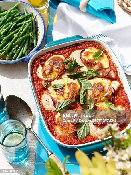 Dish of baked pasta and vegetables
