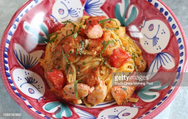 A dish of chitarra with Boston lobster at Osteria Marzia restaurant in The Fleming hotel at 41 Fleming Road in Wan Chai 18DEC17 SCMP / K Y Cheng