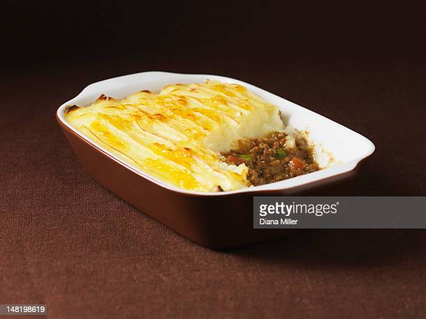 Dish of cottage pie with beef