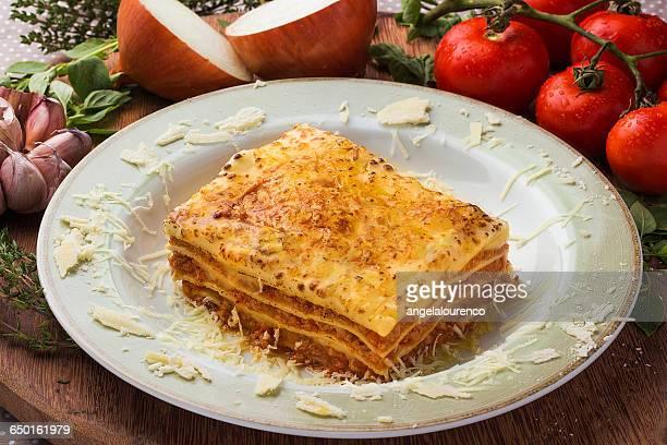 Dish of homemade lasagne