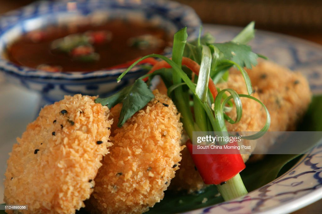 Dish of Indonesian deep fried sesame prawn cakes at Spices    News