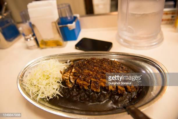 a dish of large katsu curry or japanese curry with pork cutlets - yōshoku imagens e fotografias de stock