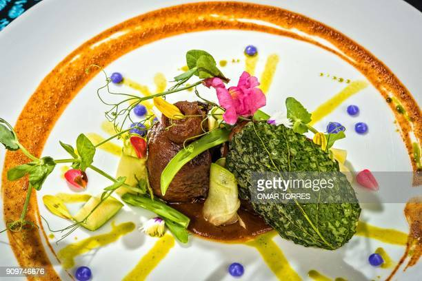 A dish of Lomo en Amarillito' with fried Saint Leaf coconut jelly Chilacayote squash ejotes sesame seeds and papalo oil is served at Mexican chef...