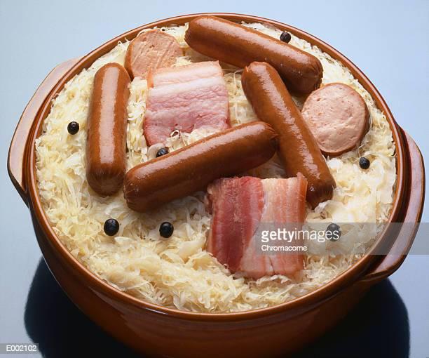 Dish of meat, sausage and sauerkraut (choucroute garni)
