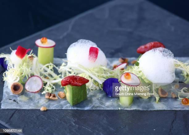 Dish of Orbetello and Bronte pistachio lobster salad of Aqua in Tsim Sha Tsui. 31JUL15 [2015 FEATURES FOOD]