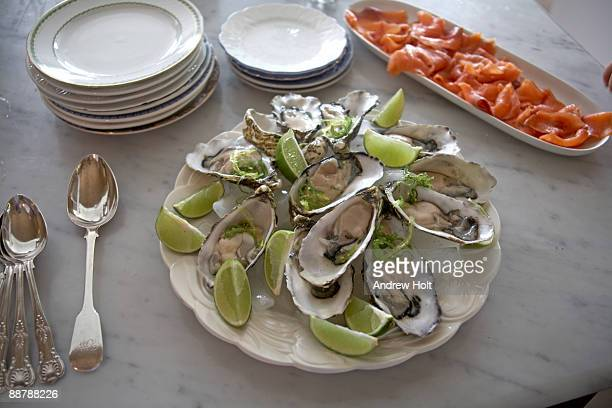 Dish of Oysters and smoked salmon, Queensland.