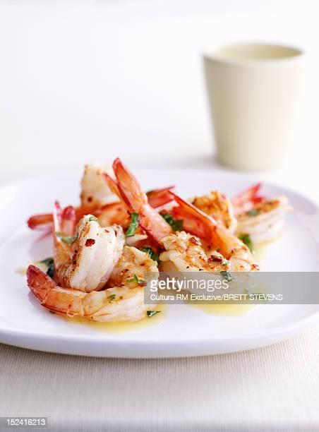 Dish of prawns and herbs