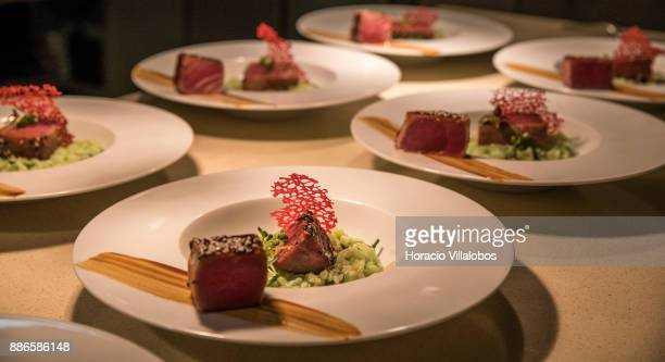 Dish of Tataki Tuna with sesame and seaweed grub rice during dinner cooking in Dolce CampoReal Lisboa Hotel for participants of Gastronomic FAM Tour...
