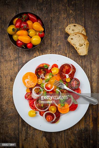 Dish of tomato salad made of different heirloom tomatoes