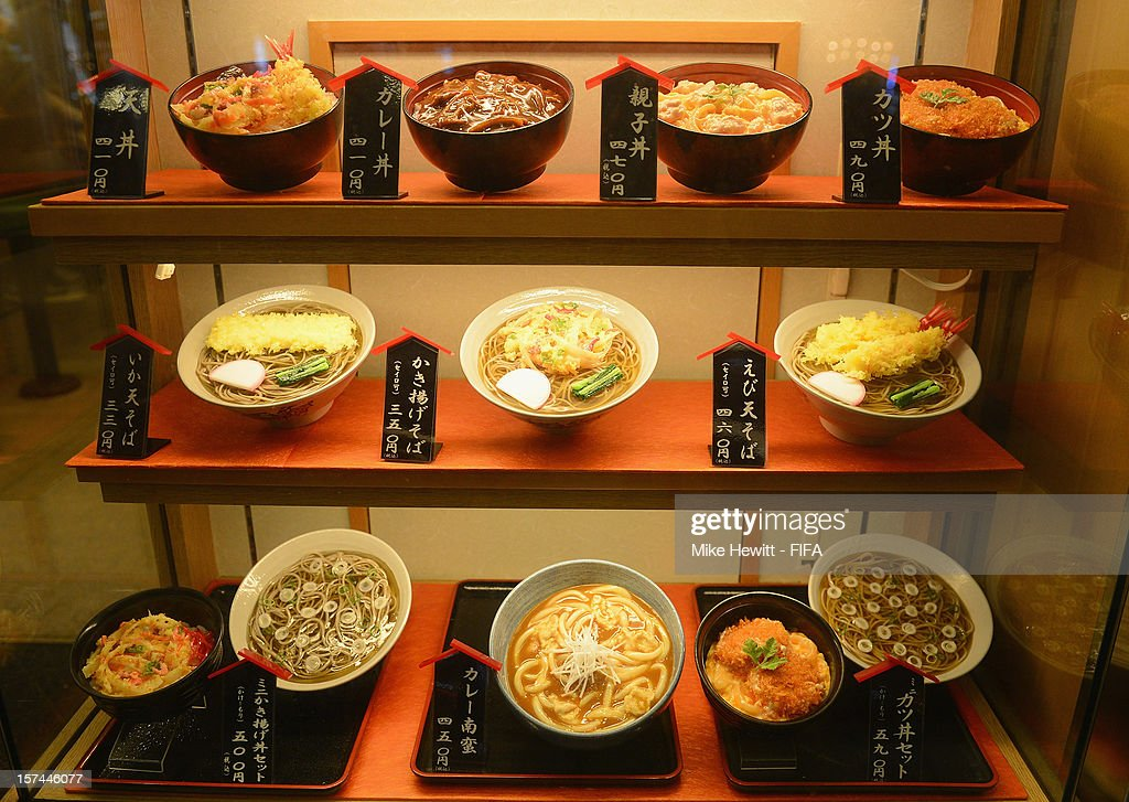 Dishes on display in a restaurant in the Akihabara district on December 3, 2012 in Tokyo, Japan.