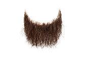 Disheveled brown beard isolated on white background