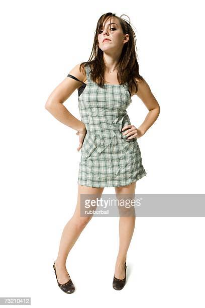disheveled woman standing - redneck woman stock photos and pictures