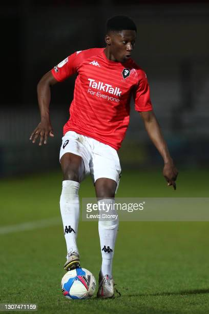 Di'Shon Bernard of Salford City in possession during the Sky Bet League Two match between Salford City and Colchester United at Moor Lane on March...