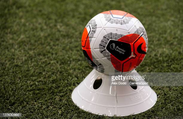 Disinfected match ball sits on a cone during the Premier League match between Sheffield United and Chelsea FC at Bramall Lane on July 11, 2020 in...