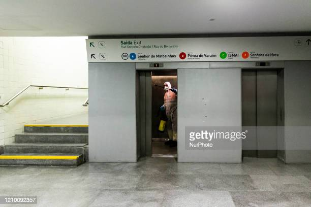 Disinfection of Trindade station of metro do Porto due the coronavirus emergency in Porto Portugal on April 16 2020