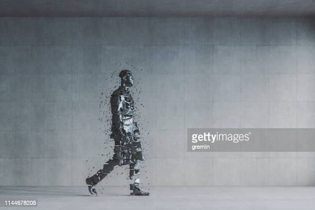 disintegration of the businessman - disintegration stock photos and pictures