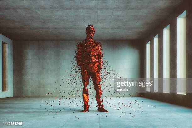 disintegration of the businessman - human representation stock pictures, royalty-free photos & images