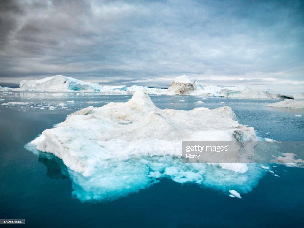 Disko Bay Arctic Icebergs Greenland Ilulissat : Stock Photo