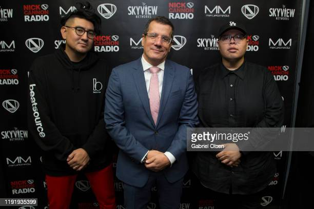 Disko Drew Otto Padron and Teddy Mora attend Nick Cannon Meruelo Media Skyview Announce Radio Syndication on December 04 2019 in Burbank California