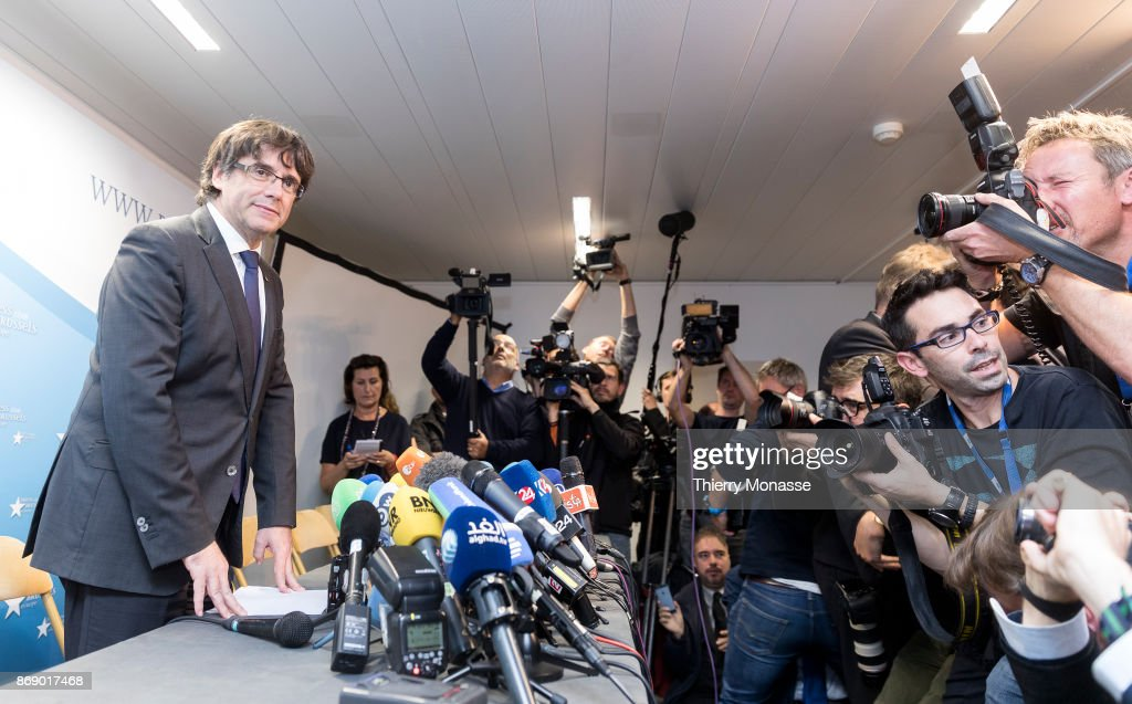 Catalan President Charles Puigdemont Speaks From Brussels : News Photo