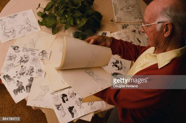 Disney Animator Ollie Johnston Flipping Through His Drawings