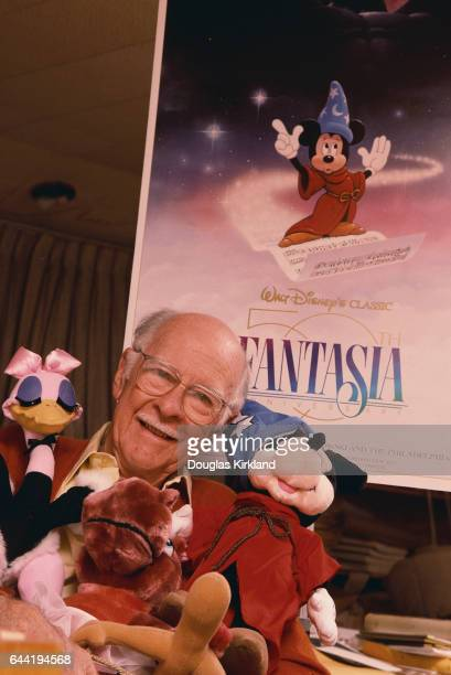 Disney Animator Ollie Johnston with Stuffed Animal Characters and Fantasia Movie Poster