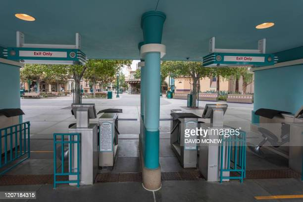 Disney California Adventure stands vacant on the first day of the closure of Disneyland and Disney California Adventure theme parks as fear of the...