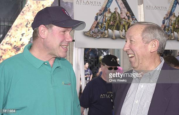 Disney CEO Michael Eisner left and Roy Disney arrive at the world premiere of the Walt Disney Pictures film Atlantis The Lost Empire June 3 2001 at...