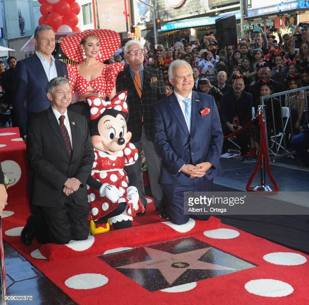 Disney Chairman and Chief Executive Officer Robert A Iger Katy Perry Leron Gubler Jeff Zarrinnam and Vin Di Bona attend ceremony for Minnie Mouse as...