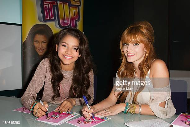 UP Disney Channel's 'Shake It Up' stars Bella Thorne and Zendaya sign autographs in London