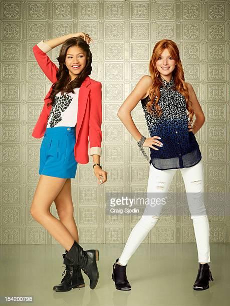 UP Disney Channel's Shake It Up stars Zendaya as Rocky Blue and Bella Thorne as CeCe Jones