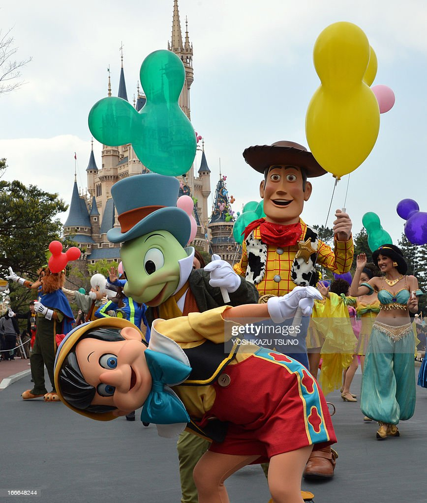 Disney Characters And Dancers Parade As The Tokyo