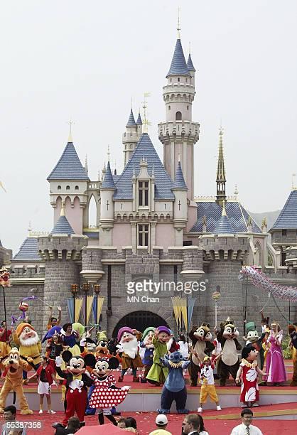 Disney characters are seen at the opening ceremony of Hong Kong Disneyland September 12 2005 in Hong Kong