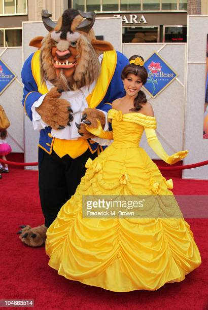 Disney characters 'Beast' and 'Belle' attend the 'Beauty and the Beast' SingALong DVD premiere at the El Capitan theater on October 2 2010 in Los...