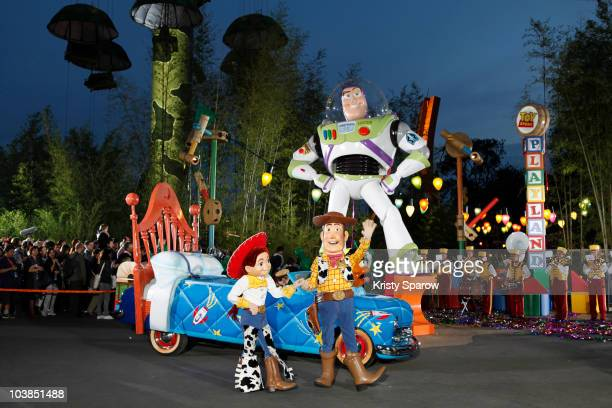 Disney characters cut the ribbon during the Toy Story Playland opening ceremony at Disneyland Paris on September 4 2010 in Paris France