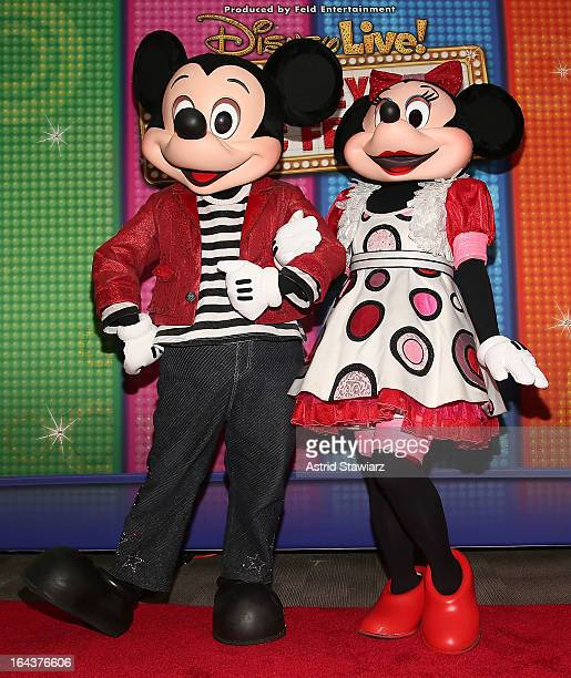 Disney characters Mickey Mouse and Minnie Mouse attend the Disney Live Mickey's Music festival at Madison Square Garden on March 23 2013 in New York...