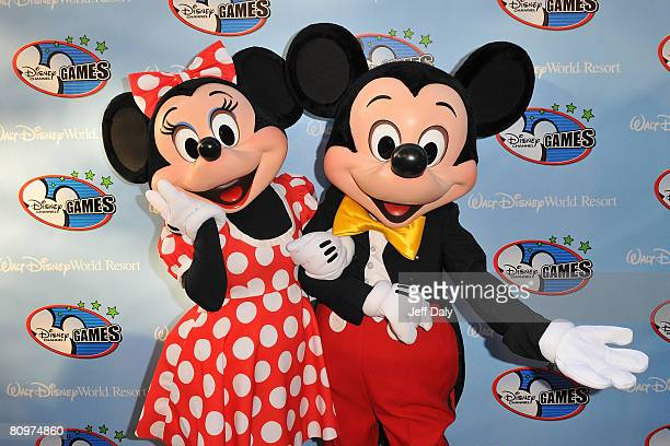 Disney characters Minnie Mouse and Mickey Mouse appear on the red carpet for the 2008 Disney Channel Games at Epcot Center in Walt Disney World on...