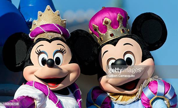 Disney characters Minnie Mouse and Mickey Mouse attend the 93rd annual Dunkin' Donuts Thanksgiving Day Parade on November 22 2012 in Philadelphia...