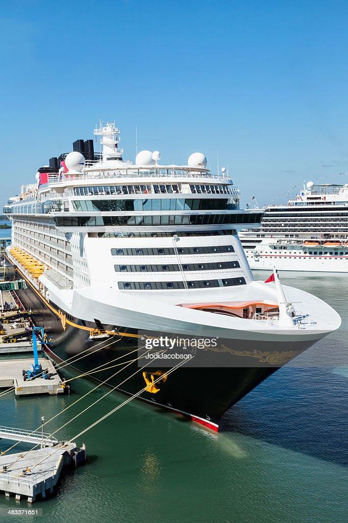 Disney Cruise Ship Docked In Port Canaveral Florida Stock Photo - Docked cruise ship