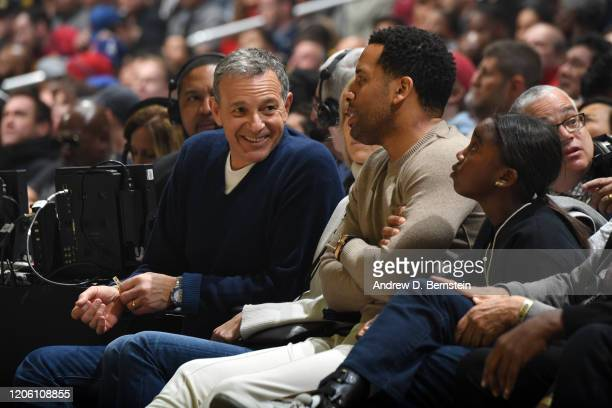 Disney Executive Bob Iger and Maverick Carter attend the game between the LA Clippers and the Los Angeles Lakers on March 8 2020 at STAPLES Center in...