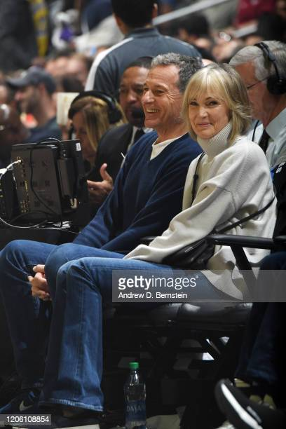 Disney Executive Bob Iger and Willow Bay attend the game between the LA Clippers and the Los Angeles Lakers on March 8 2020 at STAPLES Center in Los...