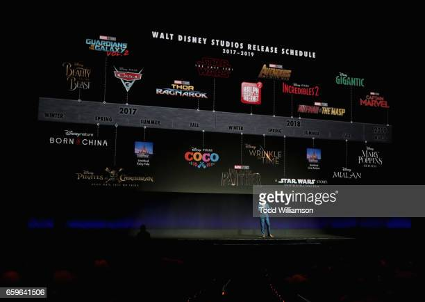 Disney Head of Distribution Dave Hollis speaks onstage at CinemaCon 2017 The Walt Disney Studios Invites You to its 2017 Presentation Including a...