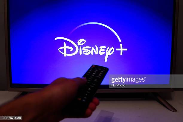 Disney + logo is seen displayed on TV screen in this illustration photo taken in Poland on July 16, 2020. On-Demand streaming services gained...