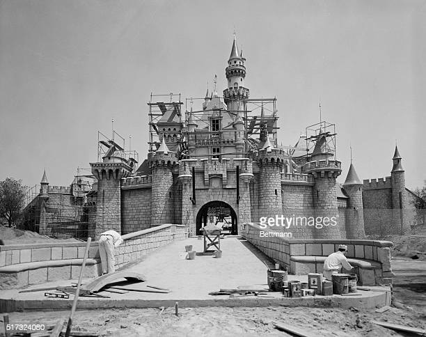 Pastel colored castle where Sleeping Beauty was awakened by the Prince's kiss is the entrance to Fantasyland Here also are the diamond minews of the...
