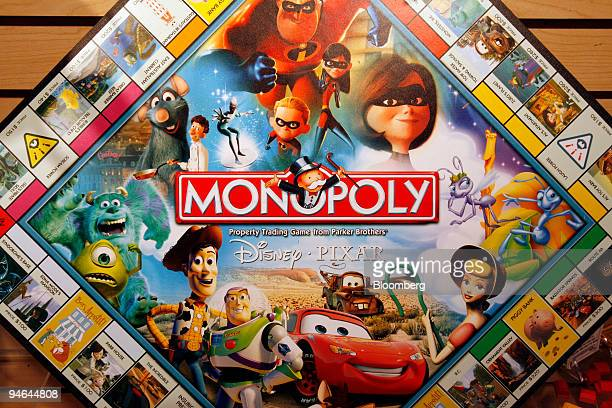 Disney Pixar themed Monopoly board hangs on display in the Hasbro showroom during the International Toy Fair Monday Feb 12 2007 in New York