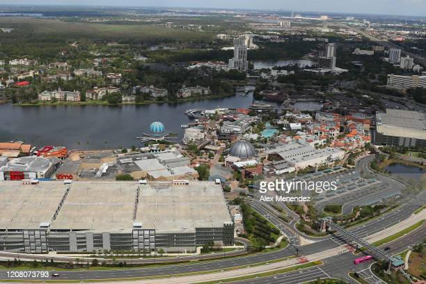 Disney Springs shopping areas remain closed to the public due to the Coronavirus threat on March 23 2020 in Orlando Florida The United States has...