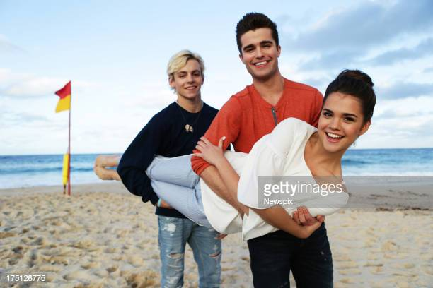 Disney stars Ross Lynch of 'Austin and Ally' Maia Mitchell of 'Teen Beach Movie' and Spencer Boldman of 'Lab Rats' poses at Coogee Beach on July 31...