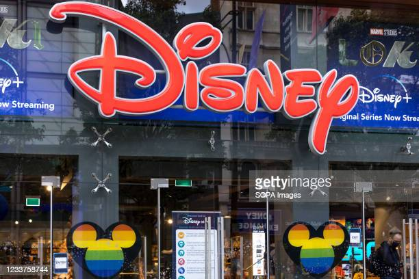 Disney store windows seen decorated with rainbow colors at the Oxford Circus in London. June is traditionally Pride month in the UK. In celebration...