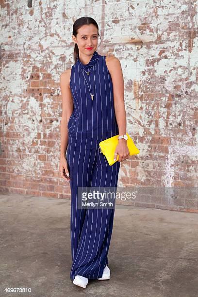 Disney TV Presenter Teigan Nash wears a Bec and Bridge jumpsuit Elms and King bag and Windsor Smith shoes at MercedesBenz Fashion Week Australia 2015...