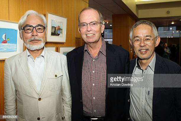 Disney VP Brett Dicker poses with Japanese film maker Hayao Miyazaki and producer Toshio Suzuki at the AMPAS' 14th Annual Marc Davis Celebration of...